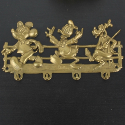Vintage Mickey Mouse, Donald Duck and Goofy wall bracket from brass by GATCO