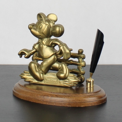 Vintage brass Mickey Mouse letter holder with pen holder by GATCO
