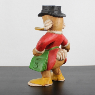 Vintage, wooden Scrooge McDuck statue
