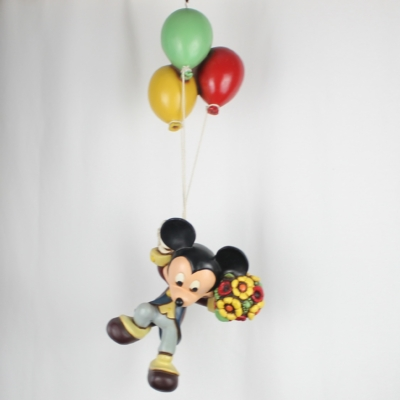 Vintage, big statue of Mickey Mouse on balloons