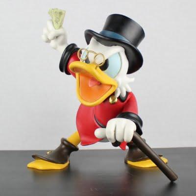 Scrooge McDuck waving money big Polyresin statue