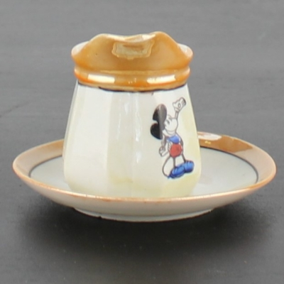 Antique Mickey Mouse milk mug and saucer by Walt Disney