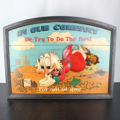 Wooden wall art of Scrooge McDuck in our company we do our best