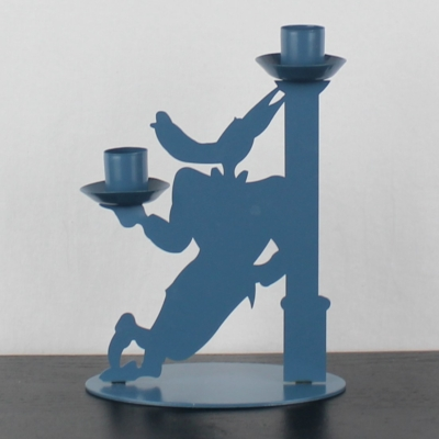 Vintage, metal Wolf candle holder by Turner Entertainment