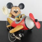 Vintage Big Polyester statue of Mickey Mouse as pilot in his plane by